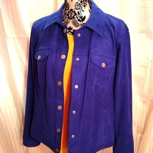 Royal Blue Suede Look Jacket